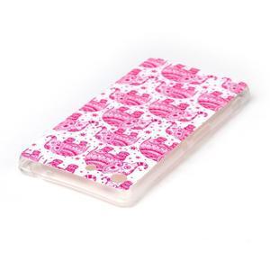 Style gélový obal pre Sony Xperia M5 - ružoví slony - 3