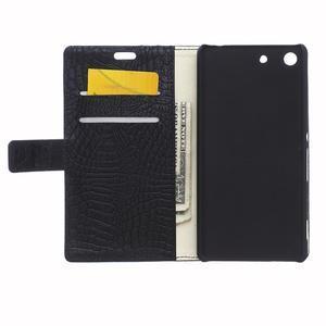 Peňaženkové puzdro s textúrou krokodílej kože na Sony Xperia M5 - čierne - 3