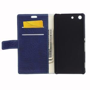 Peňaženkové puzdro s textúrou krokodílej kože na Sony Xperia M5 - tmavomodré - 3