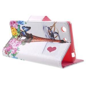 Stand Peňaženkové puzdro pre Sony Xperia M5 - ruže s Eiffelovou vežaí - 3