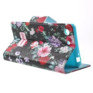 Stand Peňaženkové puzdro pre Sony Xperia M5 - kvitnúce ruže - 3