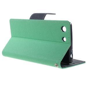 Goos PU kožené peňaženkové puzdro pre Sony Xperia M5 - cyan - 3