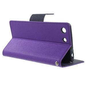 Goos PU kožené peňaženkové puzdro pre Sony Xperia M5 - fialové - 3