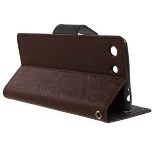 Goos PU kožené peňaženkové puzdro pre Sony Xperia M5 - hnedé - 3