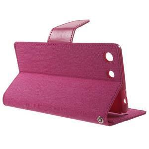 Canvas PU kožené / textilné puzdro pre Sony Xperia M5 - rose - 3