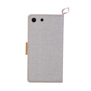 Jeans peňaženkové puzdro pre mobil Sony Xperia M5 - sivé - 3