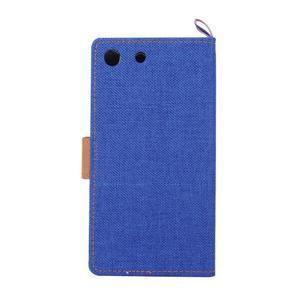 Jeans peňaženkové puzdro pre mobil Sony Xperia M5 - modré - 3