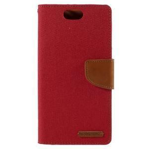 Canvas PU kožené/textilné puzdro pre Asus Zenfone Selfie ZD551KL - červené - 3