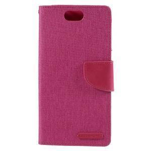 Canvas PU kožené/textilné puzdro pre Asus Zenfone Selfie ZD551KL - rose - 3