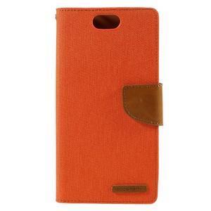 Canvas PU kožené/textilní puzdro na Asus Zenfone Selfie ZD551KL - oranžové - 3