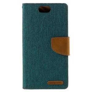 Canvas PU kožené/textilní puzdro na Asus Zenfone Selfie ZD551KL - zelenomodré - 3