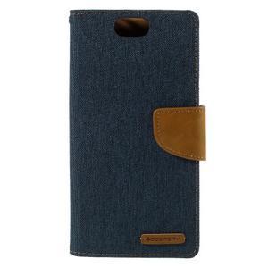 Canvas PU kožené/textilné puzdro pre Asus Zenfone Selfie ZD551KL - tmavo modré - 3