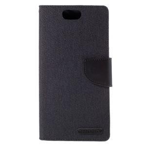 Canvas PU kožené/textilní puzdro na Asus Zenfone Selfie ZD551KL - čierné - 3