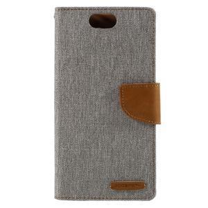 Canvas PU kožené/textilné puzdro pre Asus Zenfone Selfie ZD551KL - šedé - 3