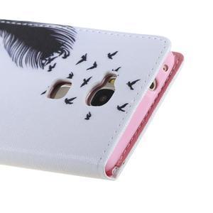 Knížkové pouzdro na mobil Honor 5X - ptačí peříčko - 3