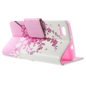 Peňaženkové PU kožené puzdro na Huawei Ascend P8 Lite - kvitnúca vetvička - 3