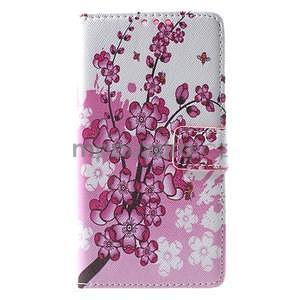 Peněženkové pouzdro Style pro Huawei Ascend P8 Lite - kvetoucí větvička - 3