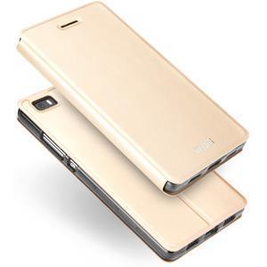 Vintage PU kožené pouzdro na Huawei P8 Lite - zlaté - 3