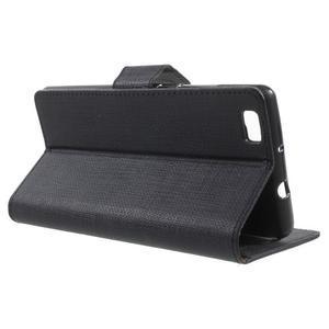 Clothy PU kožené pouzdro na mobil Huawei P8 Lite - černé - 3