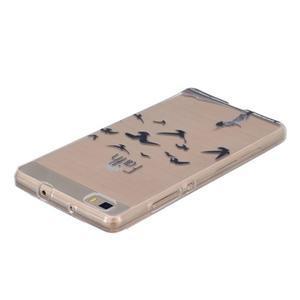 Průhledný gelový obal na Huawei P8 Lite - ptáčci - 3