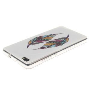 Flexi gelový obal na mobil Huawei P8 Lite - barevná peříčka - 3