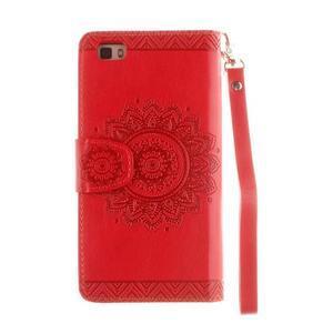 Mandala PU kožené pouzdro na mobil Huawei P8 Lite - červené - 3