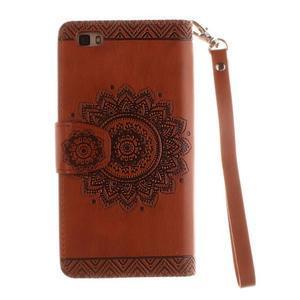 Mandala PU kožené pouzdro na mobil Huawei P8 Lite - hnědé - 3