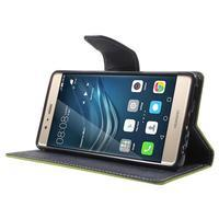 Diary PU kožené pouzdro na mobil Huawei P9 - zelené - 3/7