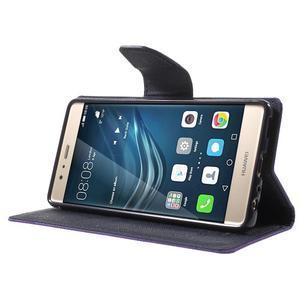 Diary PU kožené pouzdro na mobil Huawei P9 - fialové - 3