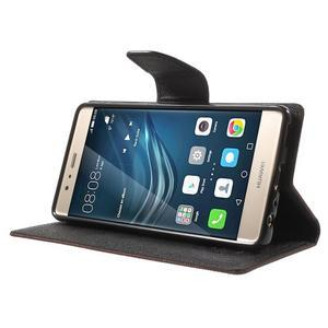 Diary PU kožené pouzdro na mobil Huawei P9 - hnědé - 3