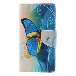 Richi PU kožené puzdro na Huawei P9 Lite - modrý motýľ - 3
