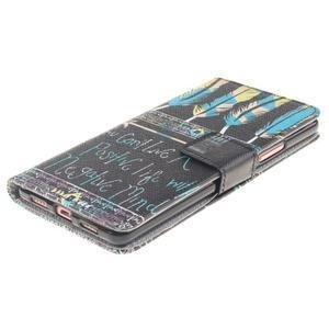 Knížkové PU kožené pouzdro na Huawei P9 Lite - peříčka - 3