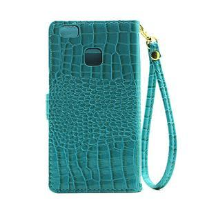 Croco peněženkové pouzdro na mobil Huawei P9 Lite - modré - 3