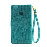 Croco peněženkové pouzdro na mobil Huawei P9 Lite - modré - 3/7