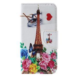 Emotive PU kožené pouzdro na Huawei Y5 - květiny a Eiffelova věž - 3