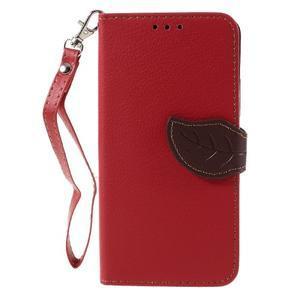 Leaf PU kožené pouzdro na mobil Huawei Y6 - červené - 3
