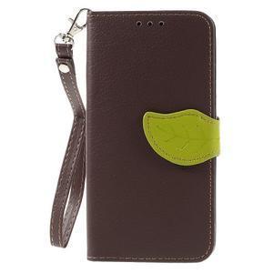 Leaf PU kožené pouzdro na mobil Huawei Y6 - hnědé - 3