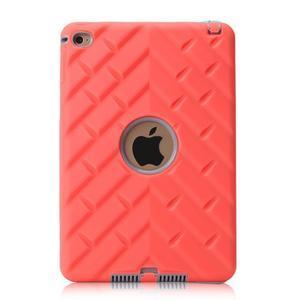Vysoce odolný silikónový obal pre tablet iPad mini 4 - oranžový/sivý - 3