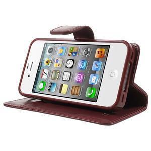 Moon PU kožené puzdro pre mobil iPhone 4 - vínové - 3