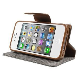 Canvas PU kožené/textilné puzdro pre iPhone 4 - sivé - 3