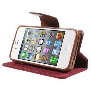 Canvas PU kožené/textilní pouzdro na iPhone 4 - červené - 3