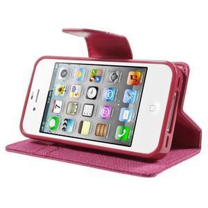 Canvas PU kožené/textilní pouzdro na iPhone 4 - rose - 3