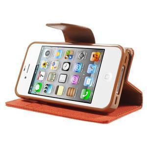 Canvas PU kožené/textilné puzdro pre iPhone 4 - oranžové - 3