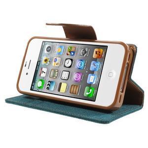 Canvas PU kožené/textilní pouzdro na iPhone 4 - zelenomodré - 3
