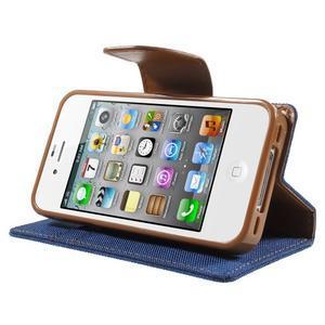 Canvas PU kožené/textilné puzdro pre iPhone 4 - modré - 3