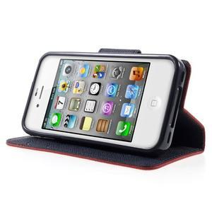 Fancys PU kožené puzdro pre iPhone 4 - červené - 3