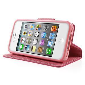 Fancys PU kožené pouzdro na iPhone 4 - rose - 3