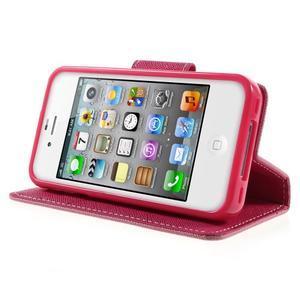 Fancys PU kožené puzdro pre iPhone 4 - ružové - 3