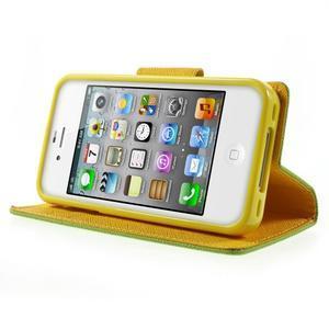 Fancys PU kožené puzdro pre iPhone 4 - zelené - 3