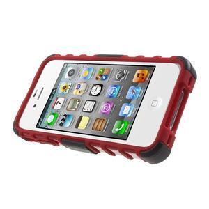 Outdoor odolný obal pre mobil iPhone 4 - červený - 3